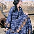 MX012 Новое Прибытие Весной и Летом 2016 свободные длинным рукавом винтаж отпечатано boho платье женщины хлопок макси платье