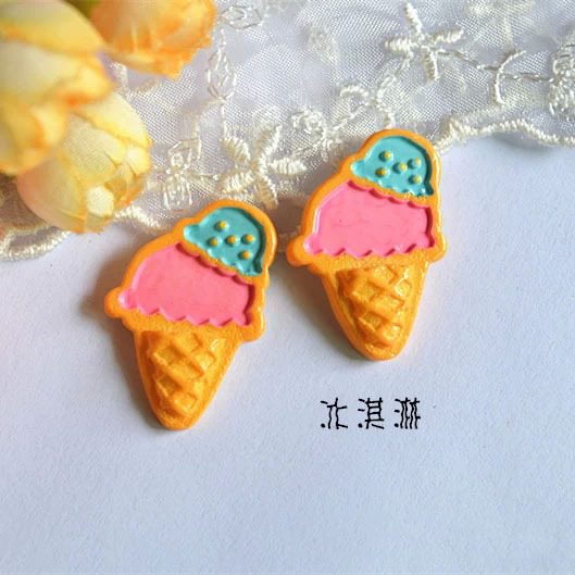 50pcs/lot flat back resin Icecream Scrapbook Embellishment DIY Phone Decoration 22*31mm