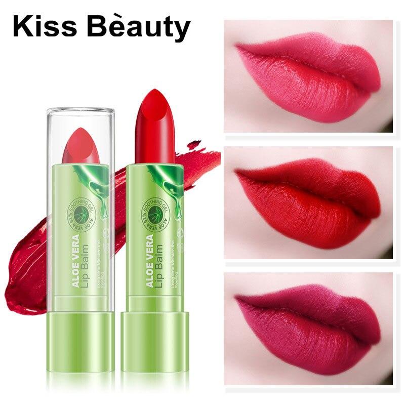 KISSBEAUTY Natural Aloe Vera Lipstick Long Lasting Moisturizer Lip Balm Women Waterproof Makeup 8 Color