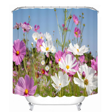 Bathroom Products Printed Polyester Bath Curtain Shower Curtain White and Purple Flower