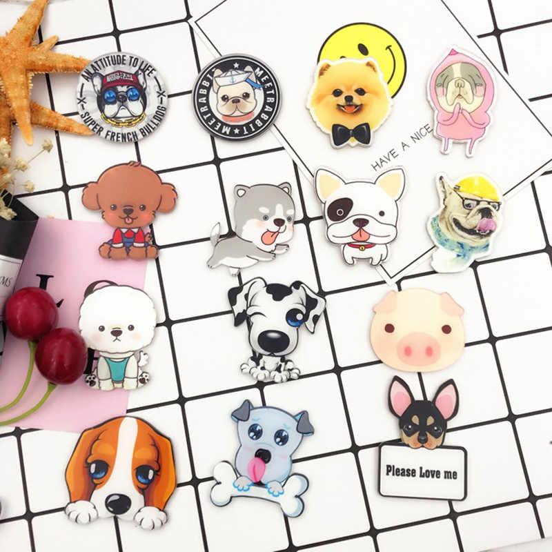 Hot البيع بروش شعبية Harajuku القط Kawaii الاكريليك 1 قطعة الكرتون الكلب لحقيبة الظهر شارات لطيف الحيوانات الملابس دبابيس للنساء