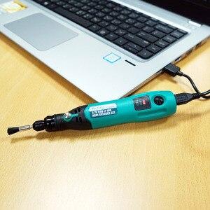 Image 4 - ProsKit PT 5205U 3.7V USB 충전 전기 그라인더 세트 리튬 이온 미니 드릴 스크루 드라이버 전기 드릴 조각사 연 삭