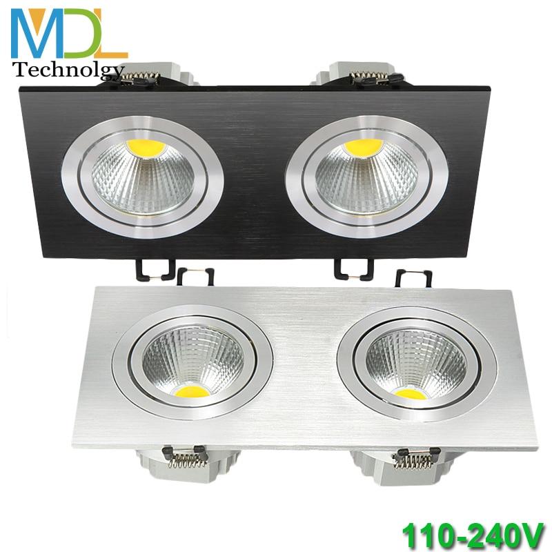 Kvadrātveida LED uz leju gaisma COB griestu spuldze 5W 7W 10W 14W 20W 40W Iegremdēta nakts gaisma AC85-265V leju lampa Mājas apgaismojums