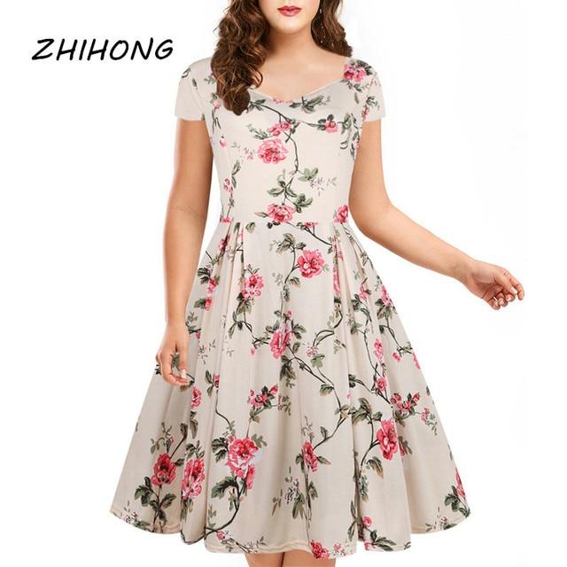 208f0d865a1 ZHIHONG Femmes Imprimer Maxi Robe Portefeuille À Manches Courtes Vintage  Fleur Motif Longue lâche Crayon Robes