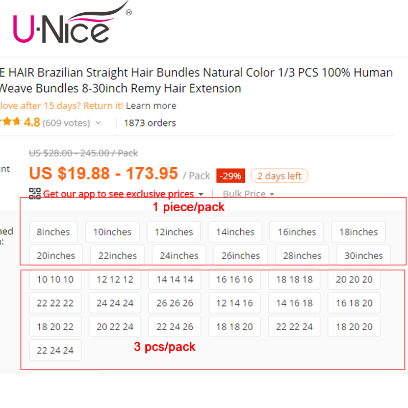 UNICE HAIR Brazilian Body Wave Hair Weave Bundles Natural Color 100% Human Hair weaving 1/3 Piece 8-30inch Remy Hair Extension 5