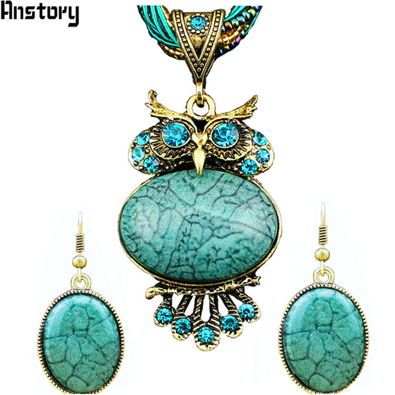 Owl Pendant Necklace Earrings Jewelry Sets For Women Antique Bronze Plated Rope Chain Resin Crystal Fashion Gift