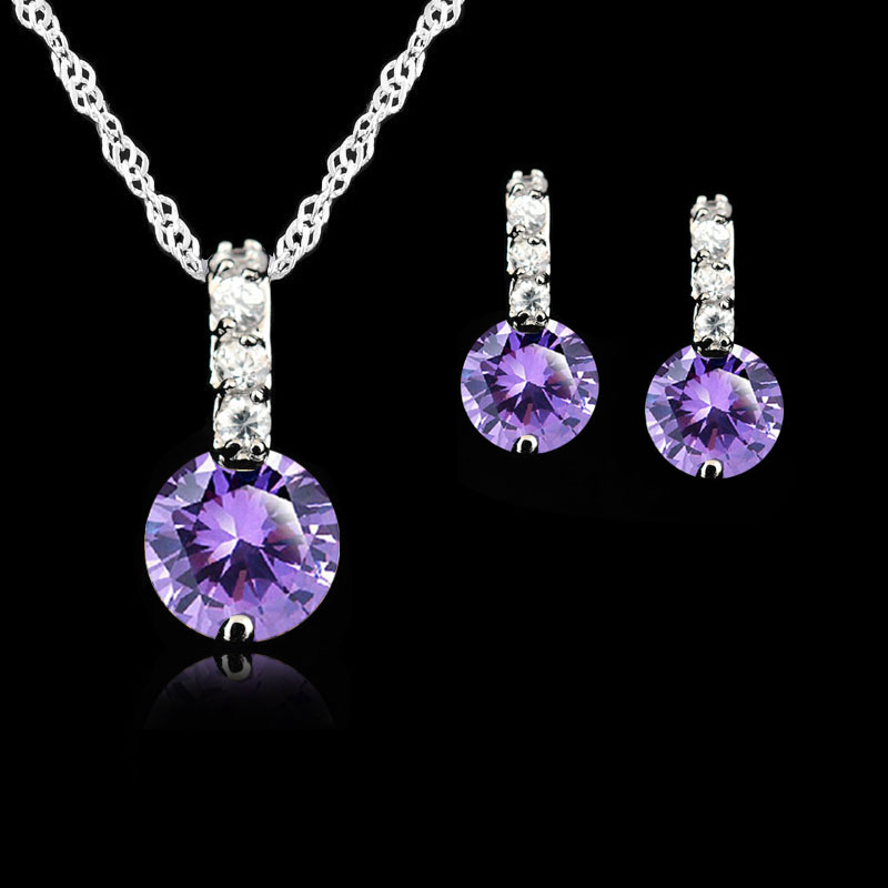 925 Sterling Silver Jewelry Sets For Women Wedding Austrian Crystal Pendants Necklace Earrings Set For Female/Bridal