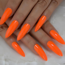 Neon Fake Nails Extremely Long Bright Orange Shiny Press On Nail Carnival Style Decoraion Manicure Tips Salon Nails 24(China)