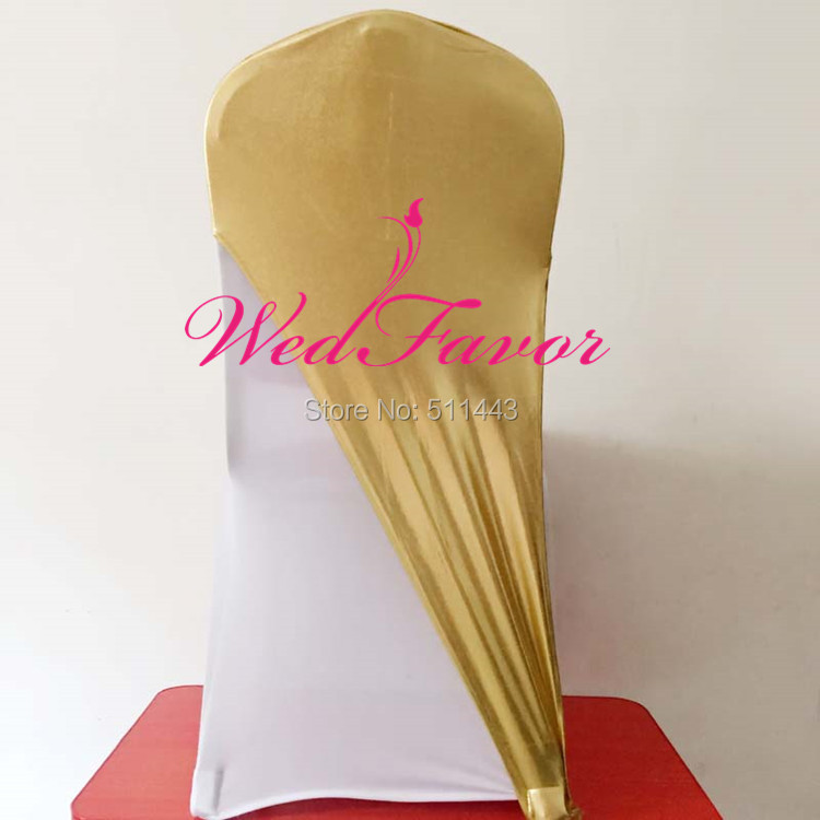 100pcs Metallic Gold Lycra Chair Caps Bronzing Stretch Spandex Chair Hoods Elastic Chair Sash Bands For