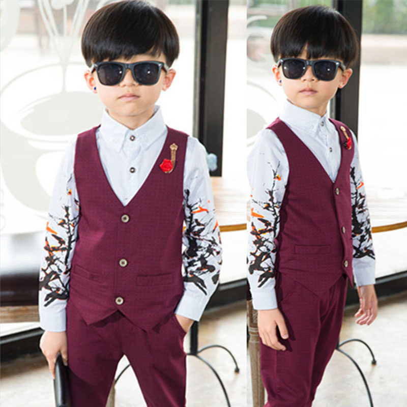Baby boy clothing suit 2017 new European boy small dress wedding dress birthday party clothing vest and pants 2 - 10 years 6 2016 limited new arrival clothing spiderman minnie mouse the boy s suit small flower girl dress wedding korean school boy piece