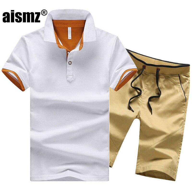 Aismz Size M-4XL Men Set Spring Summer Cotton Male Two Piece Suit Short Sleeve Polo Shirt+shorts 2 Pcs Solid Casual Tracksuit