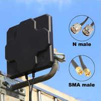 2 * 22dBi наружная 4G LTE MIMO антенна двойная поляризационная Панель Направленная внешняя антенна для Wirness N male SMA Male 20 см кабель