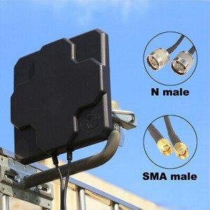 Image 1 - 2 * 22dBi חיצוני 4G LTE MIMO אנטנה כפולה קיטוב פנל כיוונית חיצוני Antenne עבור Wirness N / SMA זכר 20cm כבל