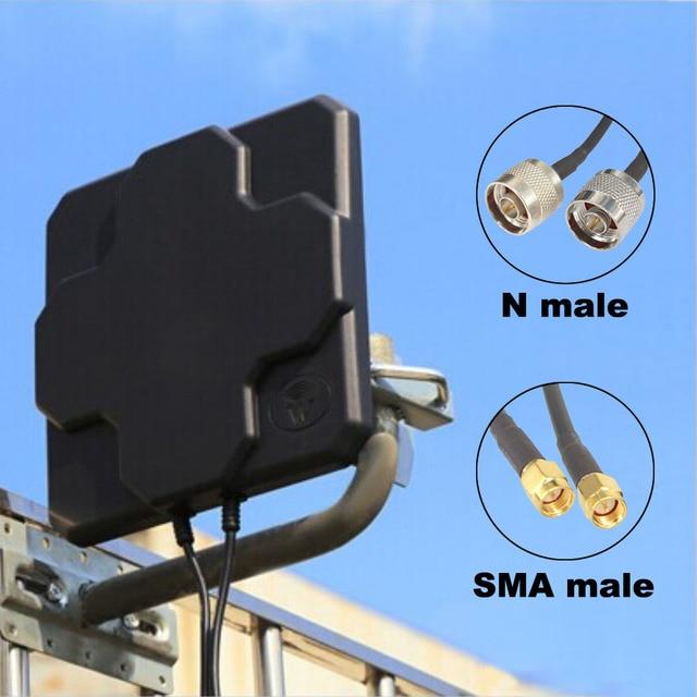 2 * 22dBi חיצוני 4G LTE MIMO אנטנה כפולה קיטוב פנל כיוונית חיצוני Antenne עבור Wirness N / SMA זכר 20cm כבל