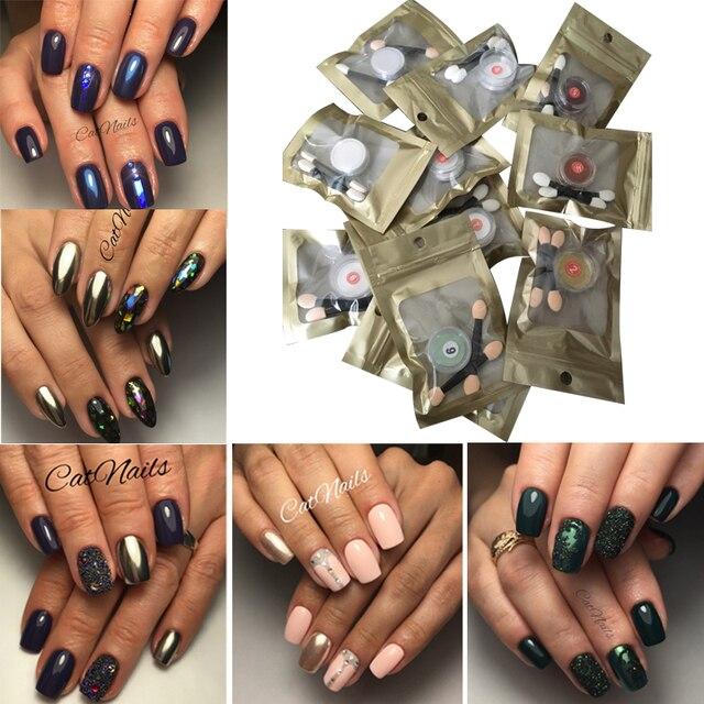 12colors Set Nail Glitter Pigment Mirror Chrome Powder Gorgeous Manicure Art Sequins