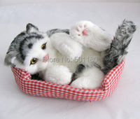 free shipping lifelike cat for home decor stuffed cat plush toys for birthday gift and decoration