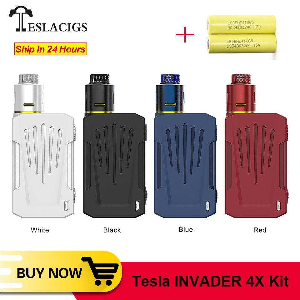 Original Teslacigs Invader 4X VV vape Kit With 5 Levels Variable Voltage Single Coil Build Deck