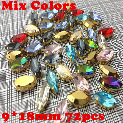 Aliexpress.com   Buy Mix Colors 72pcs 9x18mm Navette Glass Sew On Rhinestone  with Gold Metal claw setting horse eye Sewing For Dress from Reliable ... 29b40eb042d5