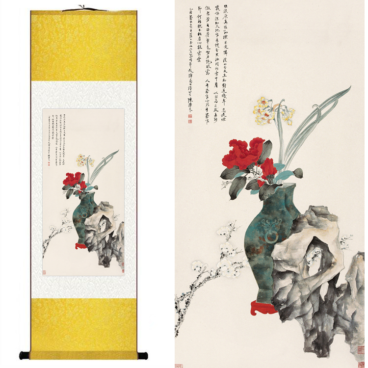 Camellia plum Silk watercolor ink copper still bonsai flower arranging floristry art wall picture canvas framed scroll painting