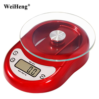 WeiHeng 5Kg/1G Cooking Tools Kitchen Scale Digital Weight Balance Food Tea Herbs Electronic Scales Clock Countdown Function