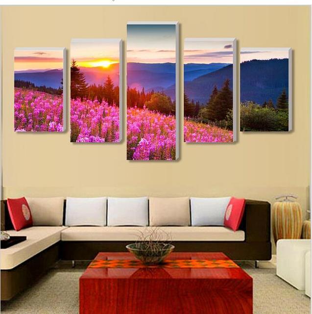No Border) 5 blue flowers garden home decor canvas print on canvas ...