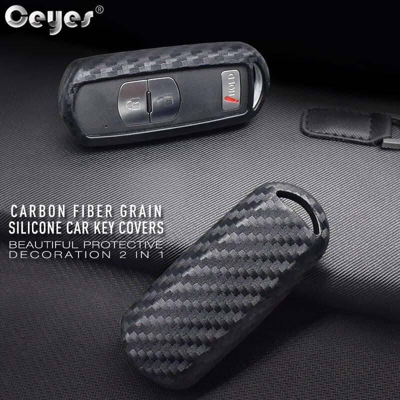Ceyes coque intelligente accessoires de style de voiture étui pour Mazda 3 2 5 Mazda 6 Axela CX-3 CX-5 CX7 Fob autocollants Auto en Fiber de carbone