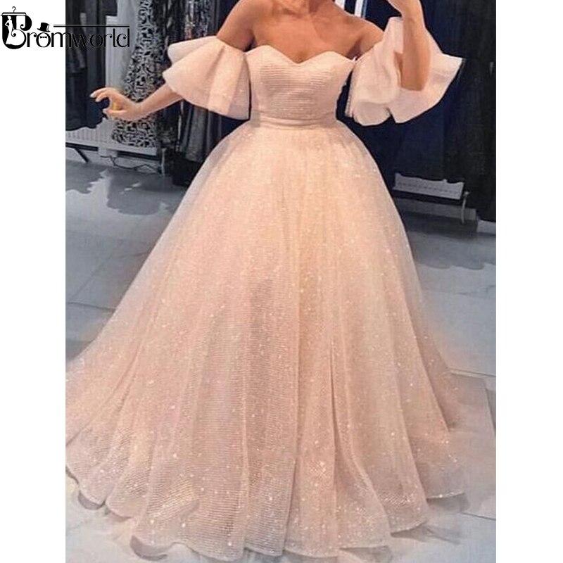 Sparkly Ball Gown Muslim Evening Dresses 2019 Sweetheart Ruffled Sleeves Peach Prom Dress Dubai Saudi Arabic Long Evening Gown