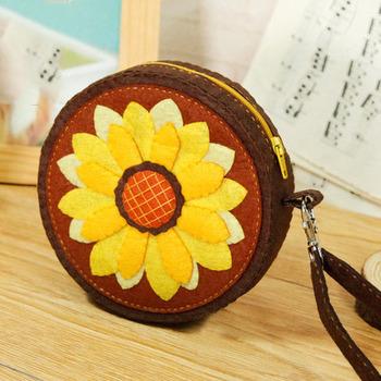 Słonecznikowe portmonetki Digu włókniny kreatywne ręcznie robione materiały dla dorosłych tanie i dobre opinie CN (pochodzenie) mz-3 Flower