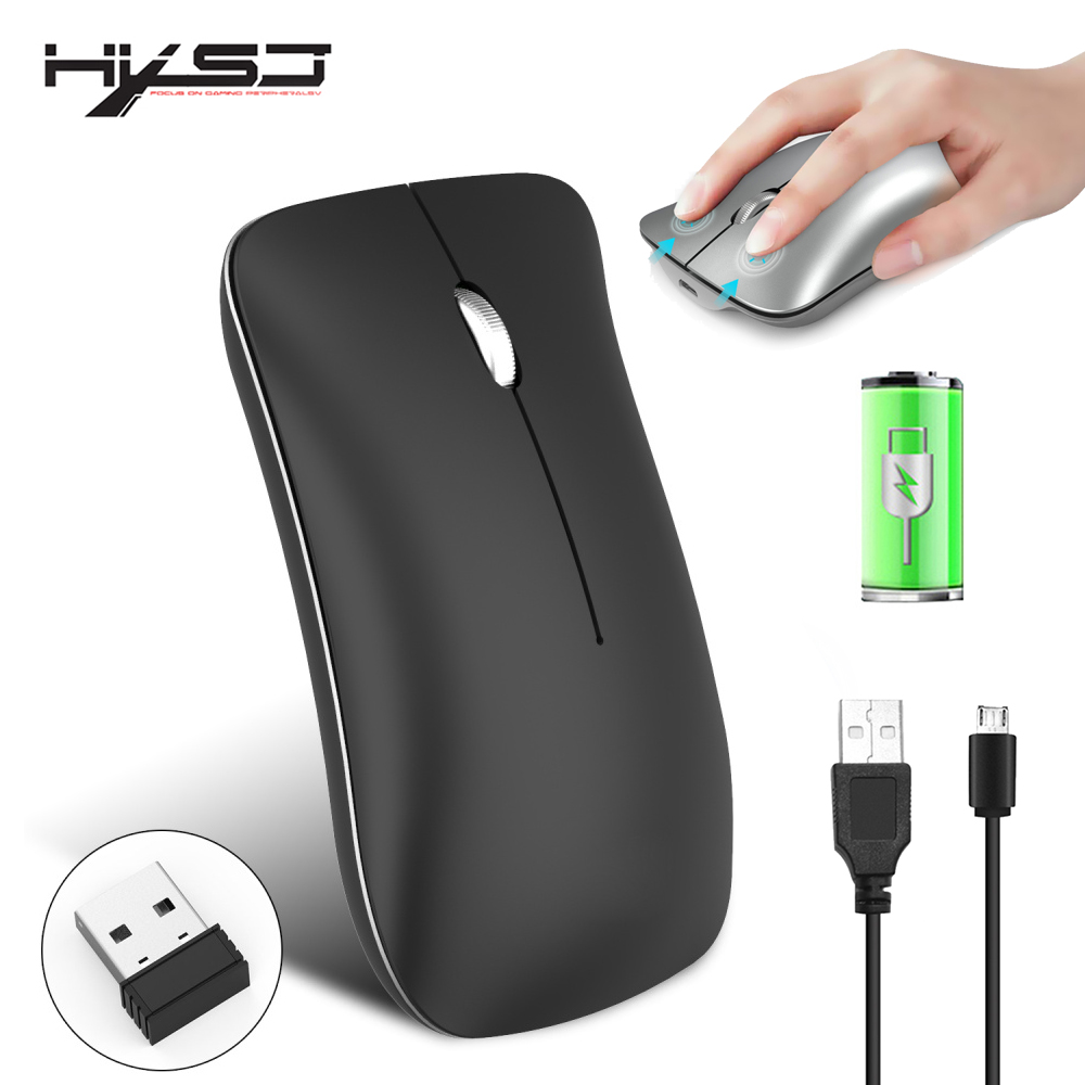 HXSJ new 2.4G wireless mute mouse thin and stylish rechargeable office mouse suitable for notebook PC black silver-in Mice from Computer & Office