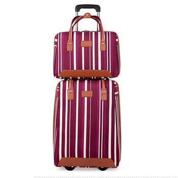 LeTrend stripe Oxford Rolling Luggage Set Spinner Multifunction Suitcase Wheels 20 inch Cabin Trolley laptop Travel Bag - DISCOUNT ITEM  47% OFF All Category
