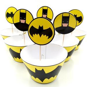 24 шт., обертки в виде мультяшного Бэтмена и кекса, верхние пики для мальчиков, украшения торта на день рождения, свадьбу, вечеринку, аксессуар...