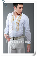 Free shipping vintage medieval mens tuxedo shirts party/event shirts latin dance performance shirts