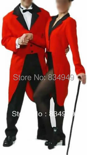 custom made to measure red tailcoat with black collar