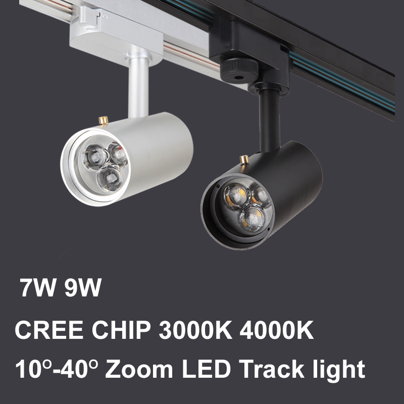 Led Track Light 7W 9W 3000K 4000K CREE Cob Led Spot Track Rail Fixture Jewelry Cabinet Museum Clothing Store Lighting 110V 220V dhl ems free shipping 12pcs lot 20w cree cob led track light for shops gallary lighting