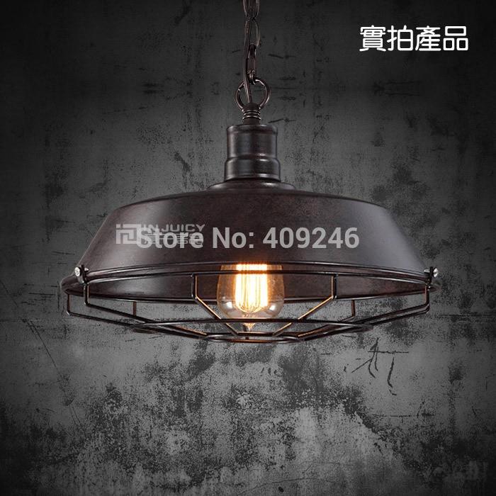 ФОТО 3PCS/LOT 36CM Grid Edison Loft Restaurant Bar Industrial Iron Pendant Black Rusty Droplight Ceiling Lamp For Cafe Bar Hall