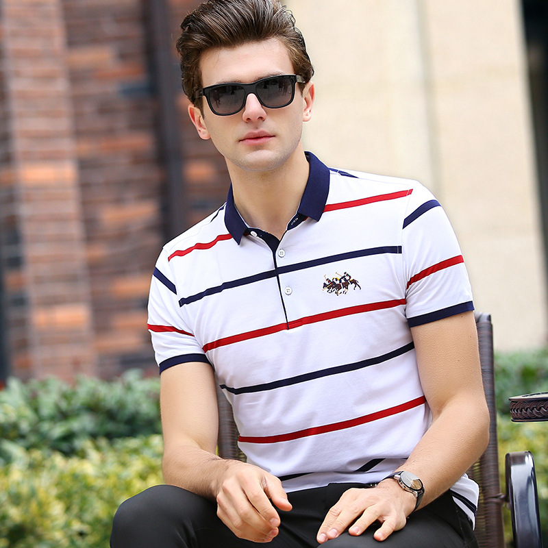 Polo   Raph Men Special Offer 2019 Shirt Solid Shirts Brands British Cotton Short Sleeve Summer Stand Collar Camisas Striped
