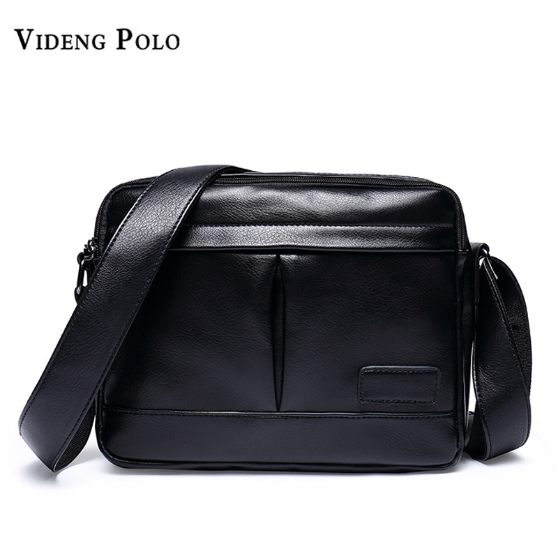 VIDENG POLO Men Bag Brand Leather Casual Crossbody Shoulder Bags For Men Vintage Small Flap Travel Messenger Bag Male Bolsas