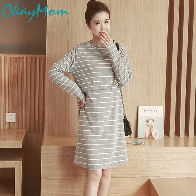 OkayMom Maternity Nursing Dress Cotton Long Sleeve Breast Feeding Dresses Clothes For Pregnant Pregnancy Nurse Wear Clothing