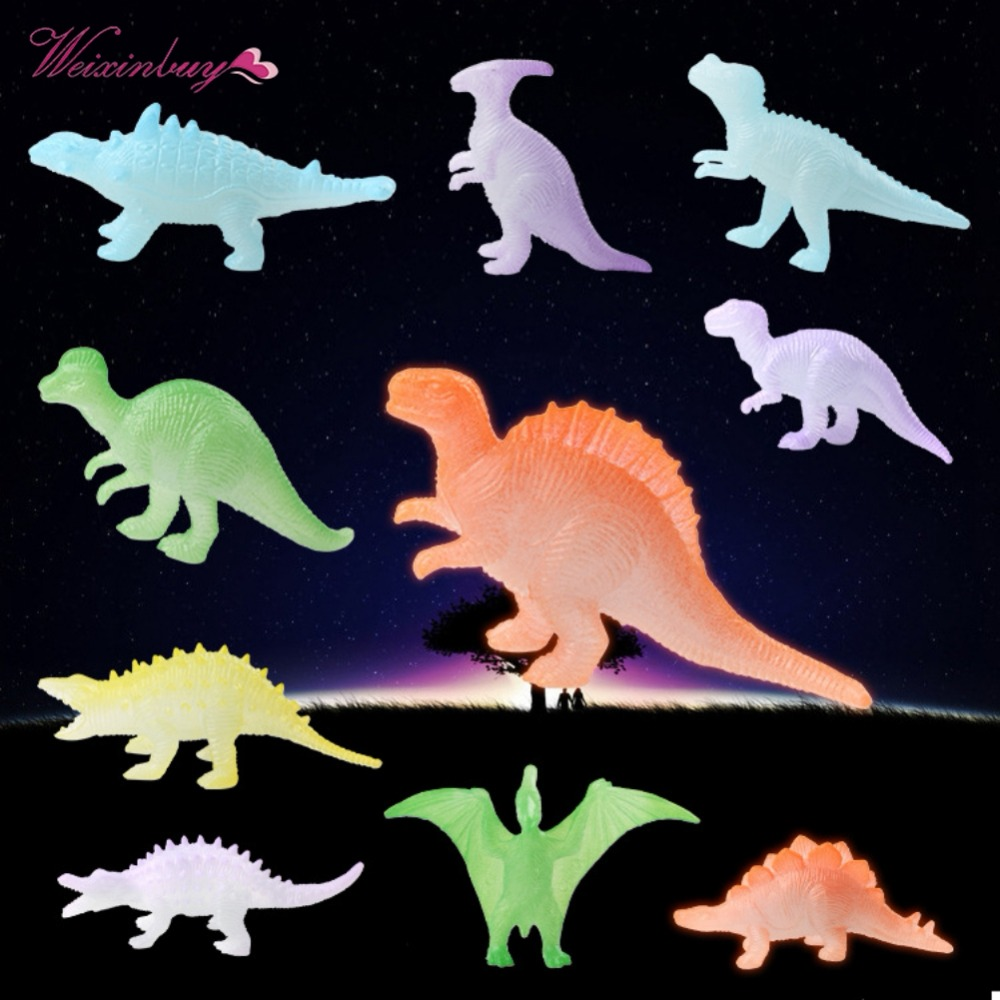 12Pcs Mini Luminous Dinosaur Toy Noctilucent Dinosaur Model Toys for Kids