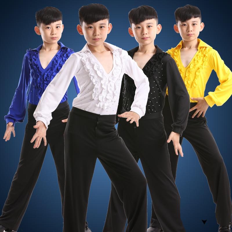 2017 Envío Gratis Hot Sale Boy Latin Dancewear Ruffly Azul Blanco - Novedad
