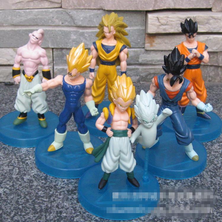 6pcs/set Goku Dragonball Majin Buu Vegeta Gotenks Z Figures Super Saiyan Son Kaiouken PVC 10-13cm Juguetes Esferas Tsum