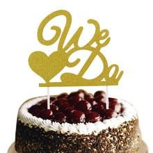 1pc We Do Wedding Cake Topper Love Heart Glittler Flags Engagement Party Baking Decor