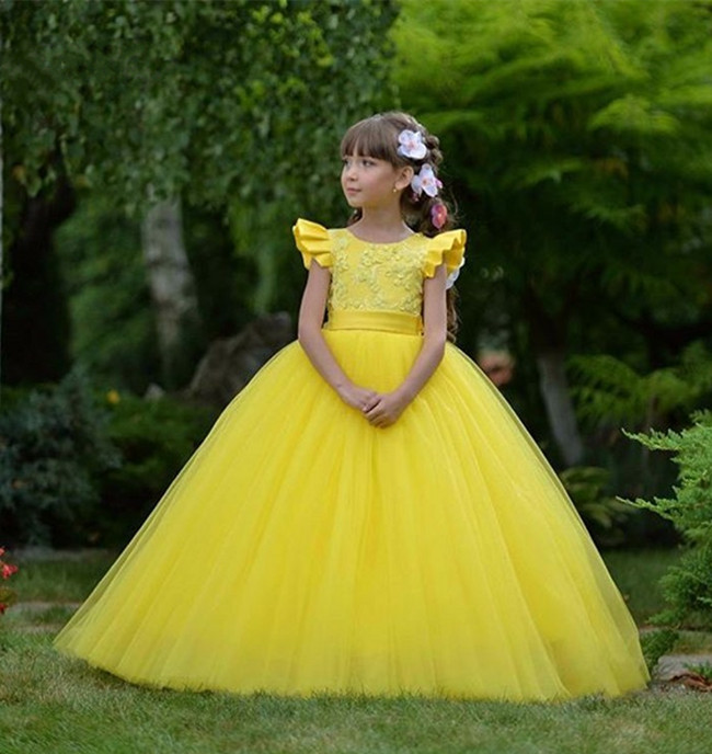 New Yellow Long Party Gowns For Princess with Bow Appliques Customized   Flower     Girl     Dress   For Wedding Any Size and Any Color