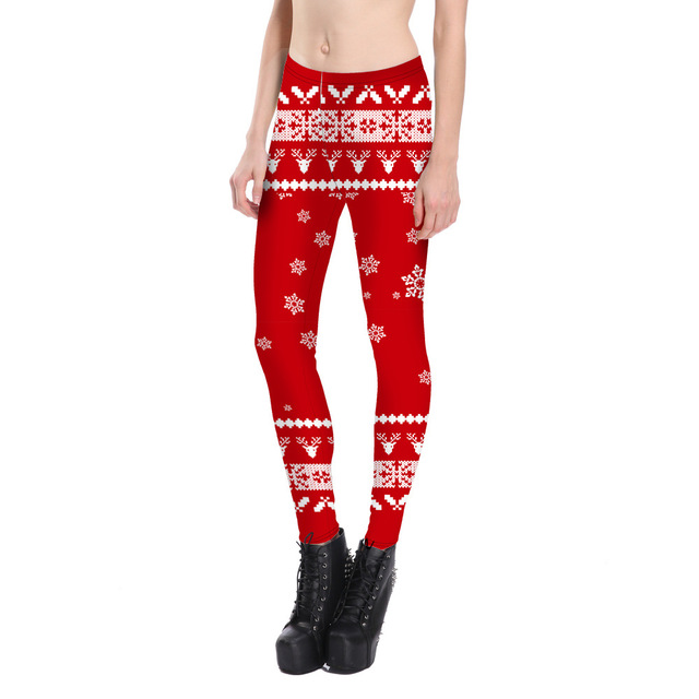613fa857286 Fashion Women Leggings snow Deer 3D Printed Christmas Leggings Female  Stretch Pants Plus Size Red