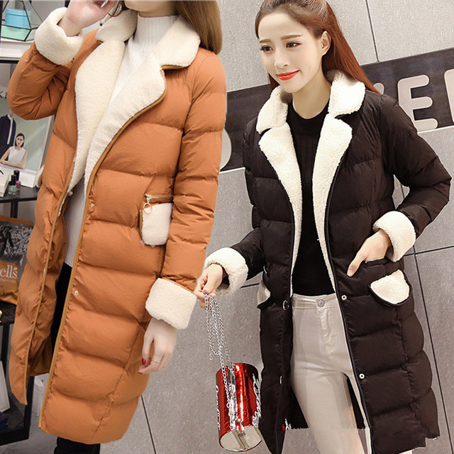Women Jacket Cotton Coats Slim Thick Long Lapels Womans Overcoat 2016 New Arrival Korean Style Ladies Jackets Parkas