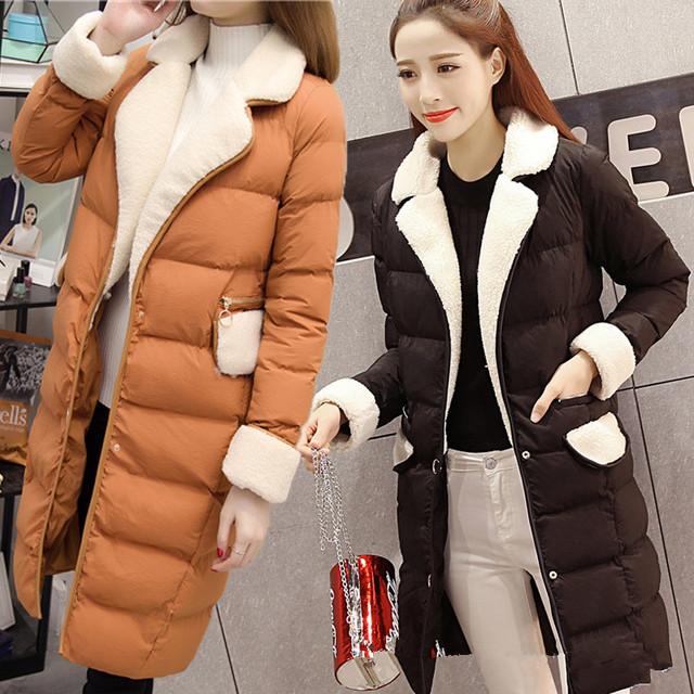 Mulheres Jaqueta de Algodão Casacos Fino Grosso Longas Lapelas Casaco Da Mulher 2016 New Arrival Estilo Coreano Senhoras Jaquetas Parkas