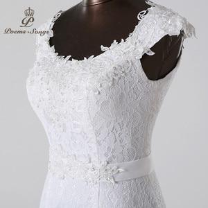Image 4 - Poemssongs beautiful lace flowers  mermaid Wedding Dress 2020 vestidos de noiva robe de mariage bridal dress  Free shipping