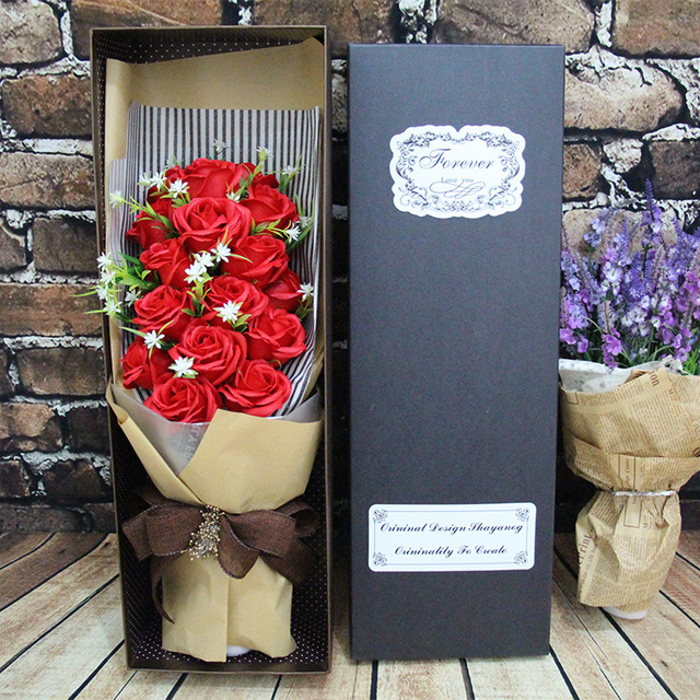 Valentines Day Bouquet Of 19 Roses Soap Flower Gift Sent To My Girlfriend Bestie Mother
