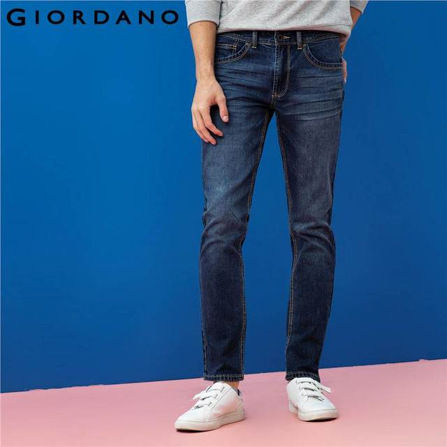 21d22a2e0 Giordano Men Tapered Jeans Stretch Whiskering Jeans Male Calca Jeans  Masculina Five-Pocket Spandex Denim