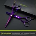 "5.5 ""de titanio púrpura de corte kit salon tijeras de peluquería tijeras de peluquería tijeras de corte de pelo de afeitar caliente cortadora de cabello para niños"